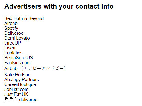 Advertisers from Facebook who had