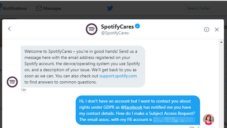 SpotifyCares gave good customer support via Twitter