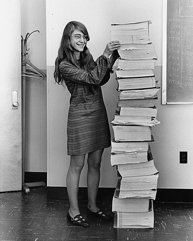 Margaret Hamilton By Draper Laboratory; restored by Adam Cuerden [Public domain], via Wikimedia Commons