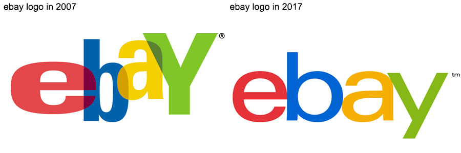ebay logos in 2007 and 2017