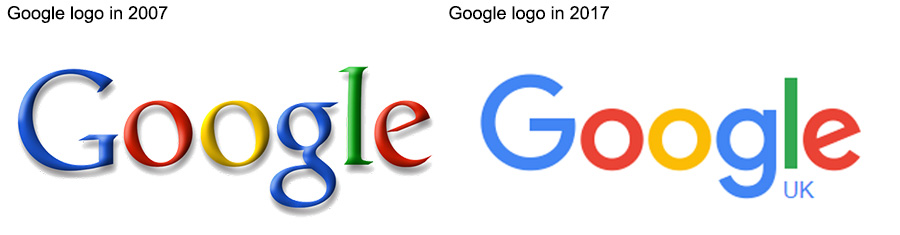 Google logo in 2007 and 2017